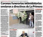 Coronas fúnebres envían a directivos de un diario peruano