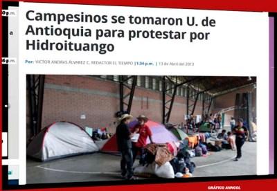Campesinos se tomaron U. de Antioquia para protestar por Hidroituango