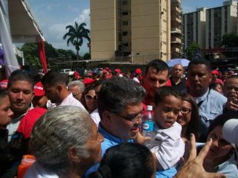 Elias Jaua ,  en  cierre de campaña y el pre-candidato Montezuma