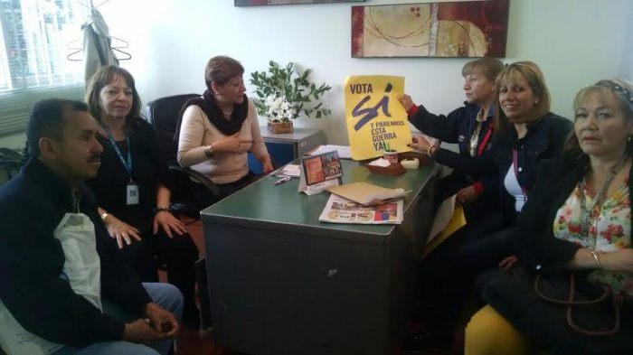 Directivos del sindicato en el CDC San Blas